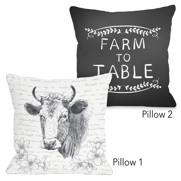 Adlai Farm to Table and Floral Cow 2 Piece Throw Pillow Set by Gracie Oaks