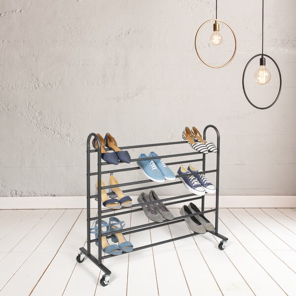 5 Tier 25 Pair Shoe Rack with Wheels