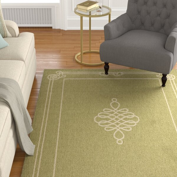 Octavius Green/Creme Indoor/Outdoor Area Rug by Charlton Home