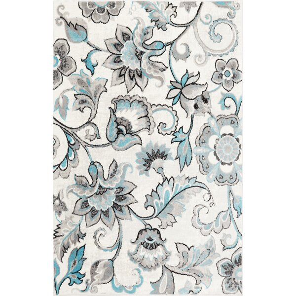 Kallie Ivory/Blue Area Rug by Ophelia & Co.