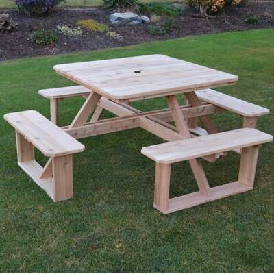 August Grove Simmonds Solid Wood Picnic Table Color Tables