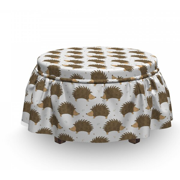 Hedgehog Cartoon Porcupines 2 Piece Box Cushion Ottoman Slipcover Set By East Urban Home