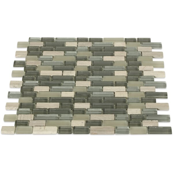 Naiad Bricks Random Sized Mixed Material Mosaic Tile in Green by Splashback Tile