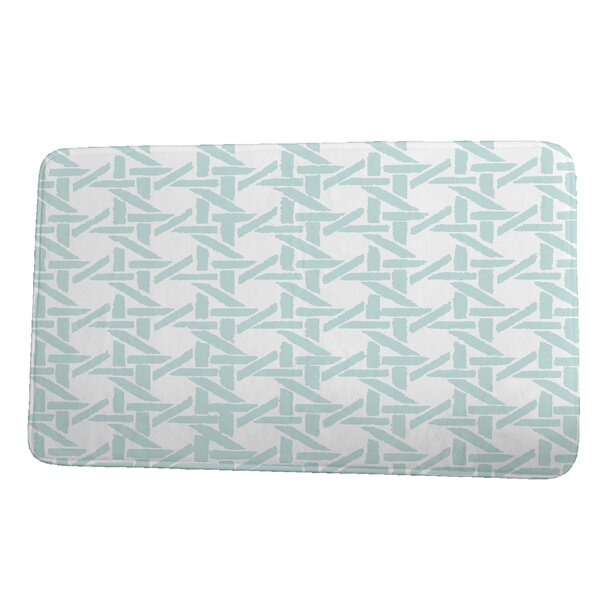 Hess Rattan Rectangle Non-Slip Geometric Bath Rug