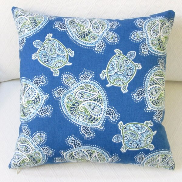 Tranquil Sea Turtles Modern Coastal Beach House Cotton Pillow Cover by Artisan Pillows