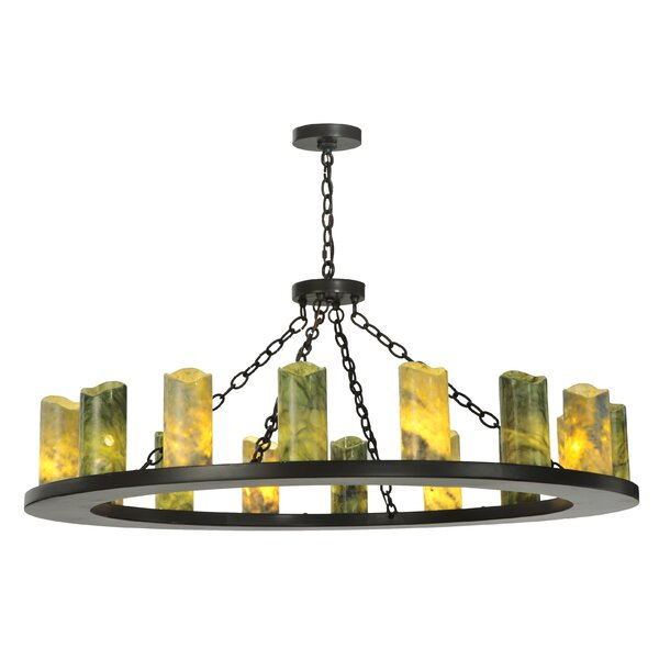 Greenbriar Oak 16 - Light Unique / Statement Wagon Wheel Chandelier By Meyda Tiffany
