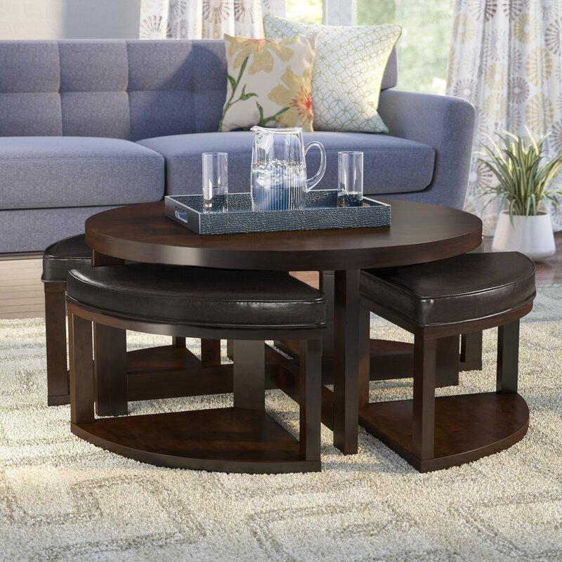 Latitude Run Swineford Coffee Table With 4 Nested Stool