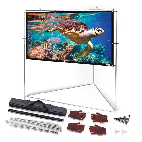 Outdoor White Portable Projection Screen by Pyle