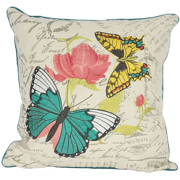Papillion on Rose Throw Pillow by Manor Luxe