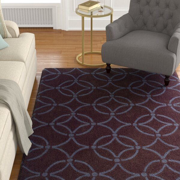 Columban Hand-Tufted Chocolate/Blue Area Rug by Charlton Home