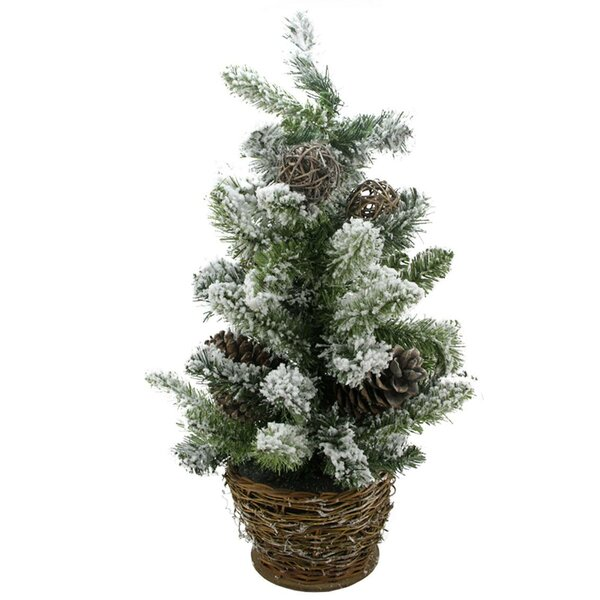 Potted Flocked Pine Artificial Christmas Tree with Wicker Base by Tori Home