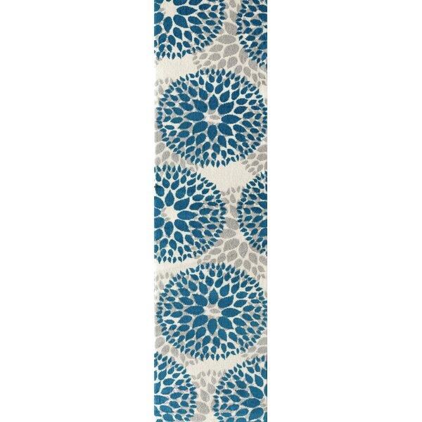 Wallner Power Loom Teal Blue Area Rug by Wrought Studio