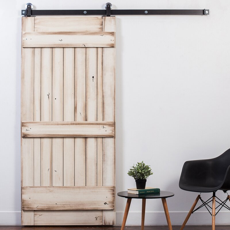 Ranch Wood 1-Panel Stained Sliding Barn Interior Door & RusticaHardware Ranch Wood 1-Panel Stained Sliding Barn Interior ...
