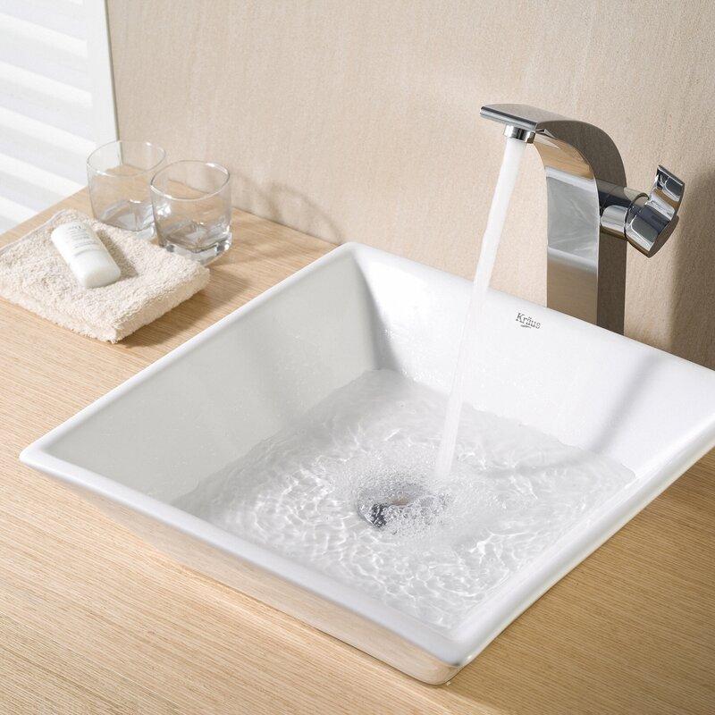 Kraus Ceramic Square Vessel Bathroom Sink & Reviews | Wayfair