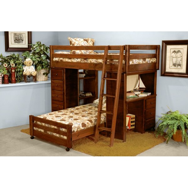 Ramos Twin Over Twin L-Shaped Bunk Bed with Drawers and Shelves by Harriet Bee