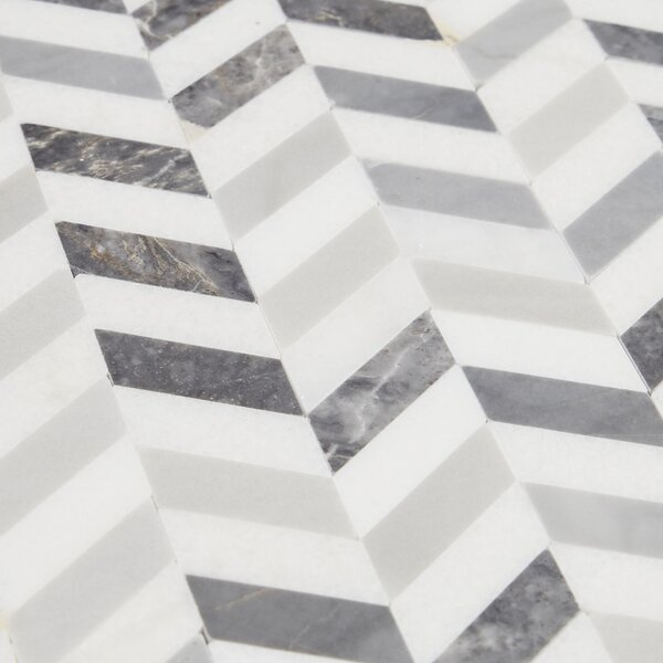 Rockwall Chevron 1 x 12 Marble Mosaic Tile in Gray/White by Itona Tile