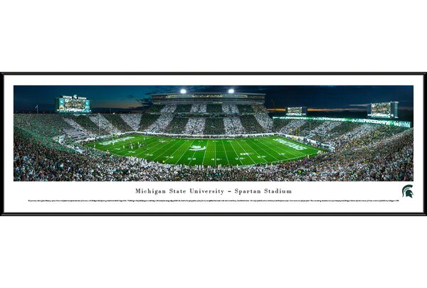 NCAA Michigan State University - Stripe - 50 Yd by James Blakeway Framed Photographic Print by Blakeway Worldwide Panoramas, Inc