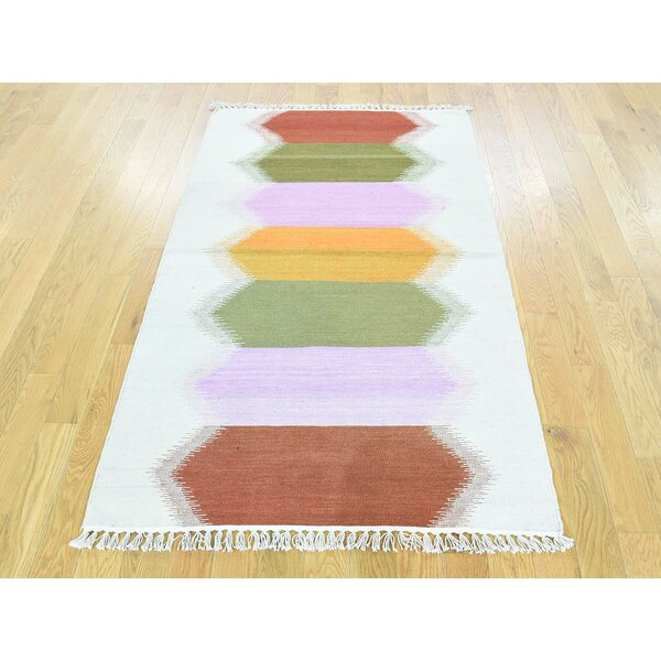 One-of-a-Kind Beckinsale Reversible Dazzling Handmade Kilim Wool Area Rug by Isabelline