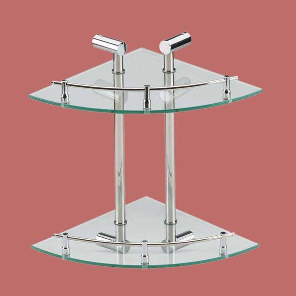 Monique Corner Glass Dual Tiers Wall Shelf by Rebrilliant