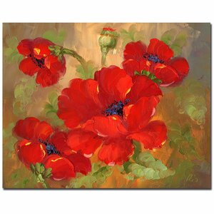 'Poppies' by Rio Painting Print on Wrapped Canvas by Trademark Fine Art