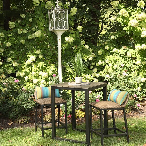 Alijha 3 Piece Bar Height Dining Set with Sunbrella Cushions by Brayden Studio