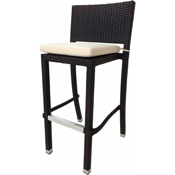 Genest Crecent 30.5 Patio Bar Stool with Cushion (Set of 2) by Wrought Studio