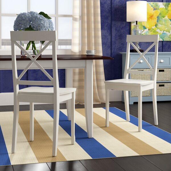 Salzman Solid Wood Dining Chair (Set of 2) by Beachcrest Home
