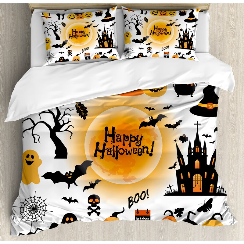 halloween all hallows day objects haunted house owl and trick or treat candy duvet set