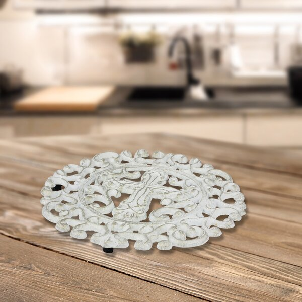 Cast Iron Round Cross Trivet by Fleur De Lis Living