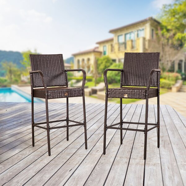 Audrey 31 Patio Bar Stool (Set of 2) by Ebern Designs