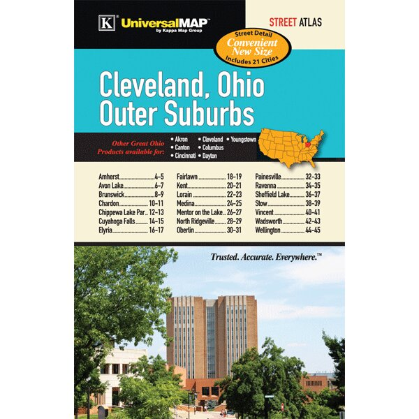 Cleveland Outer Suburbs Mini Atlas by Universal Map
