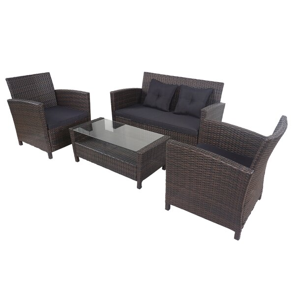 Altje 4 Piece Rattan Sofa Seating Group by Latitude Run