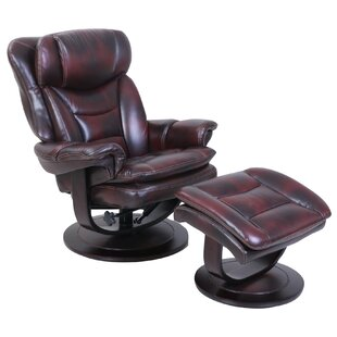 Pedestal Roscoe Ped Manual Swivel Recliner with Ottoman Barcalounger