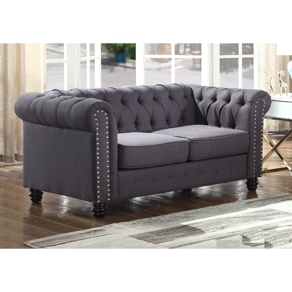 Discover The Latest And Greatest Borica Nailhead Living Room Chesterfield Loveseat by Alcott Hill by Alcott Hill