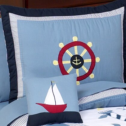 Come Sail Away Toddler Standard Pillow Case by Sweet Jojo Designs