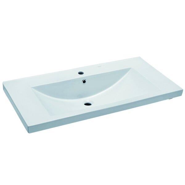 Ceramic Rectangular Drop-In Bathroom Sink with Overflow by EAGO