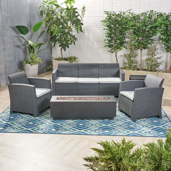 Phyllida Outdoor 5 Piece Wicker Print Sofa Seating Group with Cushions