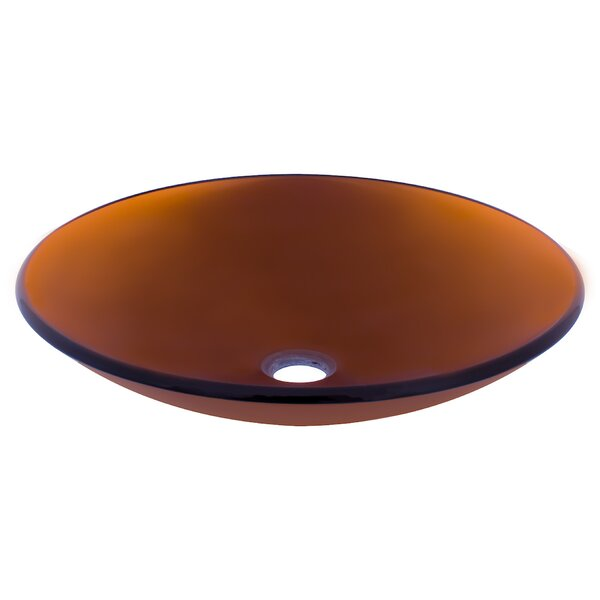 In Basso Glass Circular Vessel Bathroom Sink by Novatto