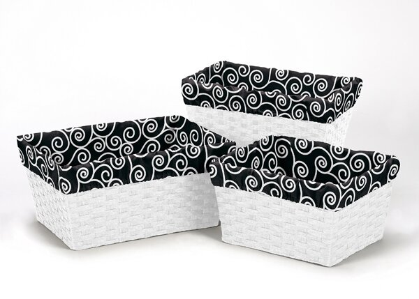 Kaylee Scroll Print 3 Piece Basket Liner Set by Sweet Jojo Designs