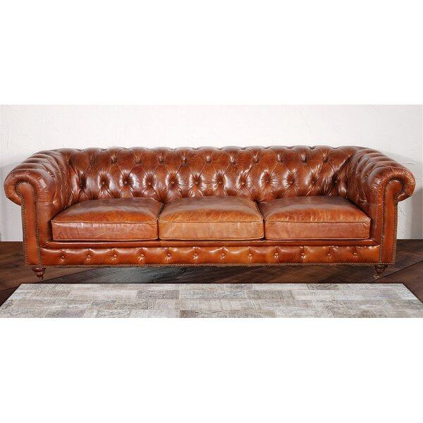 Chester Bay Leather Chesterfield Sofa by Pasargad