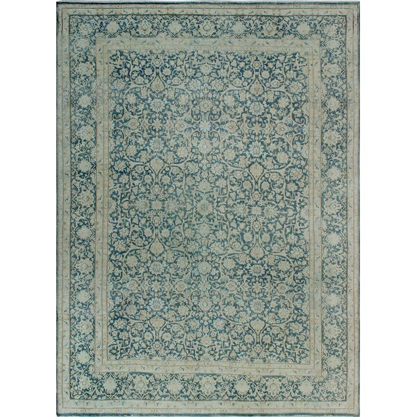 One-of-a-Kind Millner Distressed Perla Hand-Knotted Wool Blue Are Rug by Bloomsbury Market