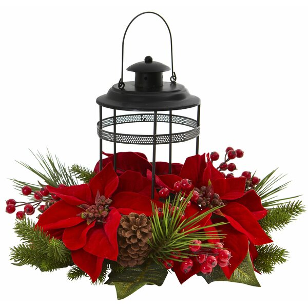 Artificial Arrangement Poinsettia Pine Candelabrum by The Holiday Aisle