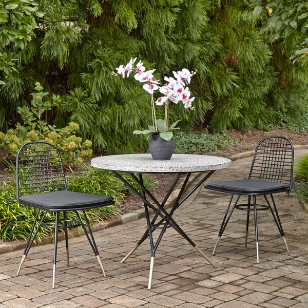Oswestry Cast Aluminum Outdoor 3 Piece Bistro Set with Cushions by Ivy Bronx