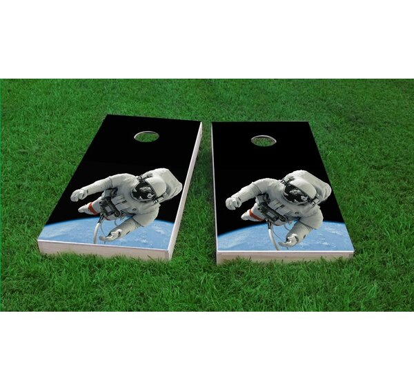 Astronaut Floating Above Earth Cornhole Game Set by Custom Cornhole Boards
