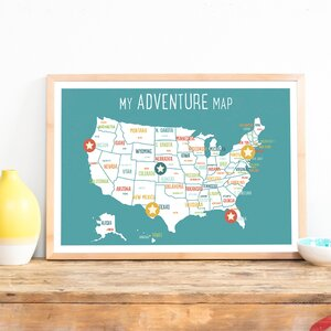 USA Personalized Adventure Map Paper Print by Children Inspire Design