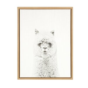 'Hairy Alpaca Black and White Portrait' Framed Photographic Print on Canvas by Ivy Bronx