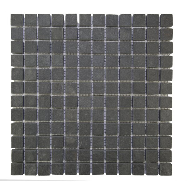 1 x 1 Natural Stone Mosaic Tile in Black by Pebble Tile