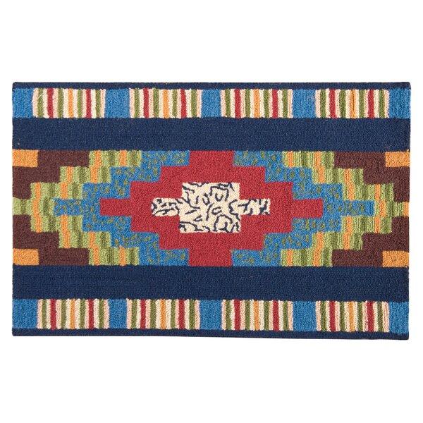 Hoopeston Wool Blue Area Rug by Winston Porter