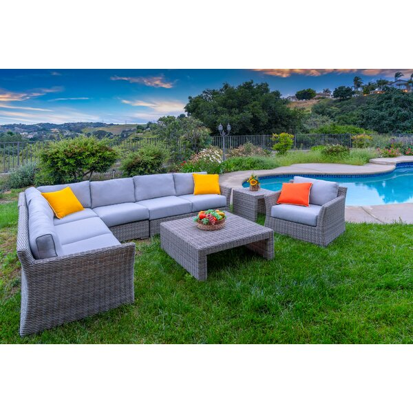 Soto Outdoor 7 Piece Rattan Sectional Seating Group with Cushions by Bayou Breeze