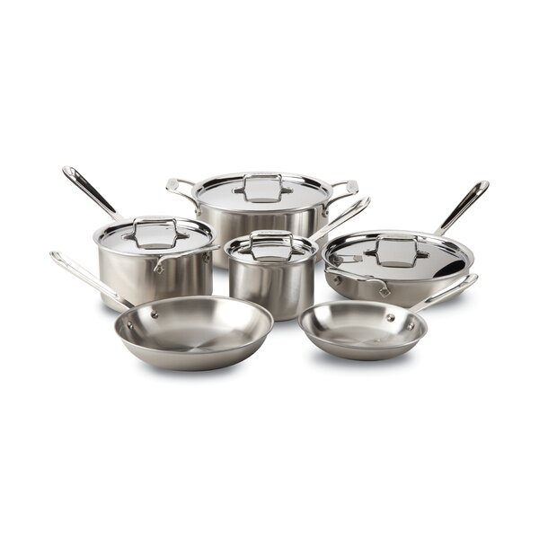 d5 Brushed Stainless Steel 10 Piece Cookware Set by All-Clad